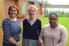 CDI BBQ 4:  Childhood Development Initiative Quality Specialist Grainne Smith, Community Engagement Coordinator (Restorative Practices) Claire Casey and Restorative Practices Trainer Sharone Samuels at CDI's Annual Summer Barbecue where the community group was announced as a Restorative Organisation.
