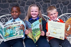 Celebrating after the Graduation Ceremony of the Doodle Den Literacy Programme which ran in six Limerick schools this year are Victor Anochie from St Munchins Ballyneety, Ellie Nolan from Our Lady of Lourdes and David Fenton Scullion from St Michaels National School.