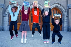 Celebrating after the Graduation Ceremony of the Doodle Den Literacy Programme which ran in six Limerick schools this year are pupils from St Munchins, Corpus Christi, St Michaels, Our Lady of Lourdes and Presentation Primary National Schools.