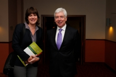 Sara Burke, policy analyst, and Alex White, TD and Minister for State, at CDI primary care seminar.