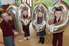 International Literacy Day: Six year old Aoibheann Coyne (left) celebrates being the 1000th child to enroll in Doodle Den, an after school programme to improve children's literacy. Developed in Tallaght West, Doodle Den was today launched online for all children and parents across the country at www.doodleden.ie. Pictured with Aoibheann is Darragh Yates, Abigail Kenny and Cillian Dunbar.  ***NO REPRO FEE*** Photography: Conor Healy Photography