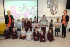 Pupils from St. Brigid's Junior National School pictured at the 1000th child to enroll in Doodle Den, and launch of www.doodleden.ie, on International Literacy Day 2014.