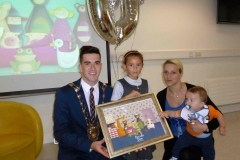 The Mayor of South Dublin county with Doodle Den pupil Ana Guilia from St. Brigid's Junior National School at the 1000th child to enroll in Doodle Den, and launch of www.doodleden.ie, on International Literacy Day 2014.