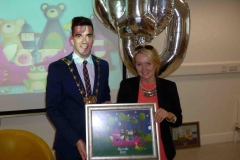 The Mayor of South Dublin County with teacher Breege Boyle at the 1000th child to enroll in Doodle Den, and launch of www.doodleden.ie, on International Literacy Day 2014.