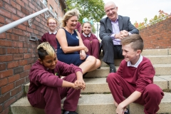 CDI CEO Marian Quinn and RTEs John Murray meet some local children who helped celebrate CDIs 10th anniversary.